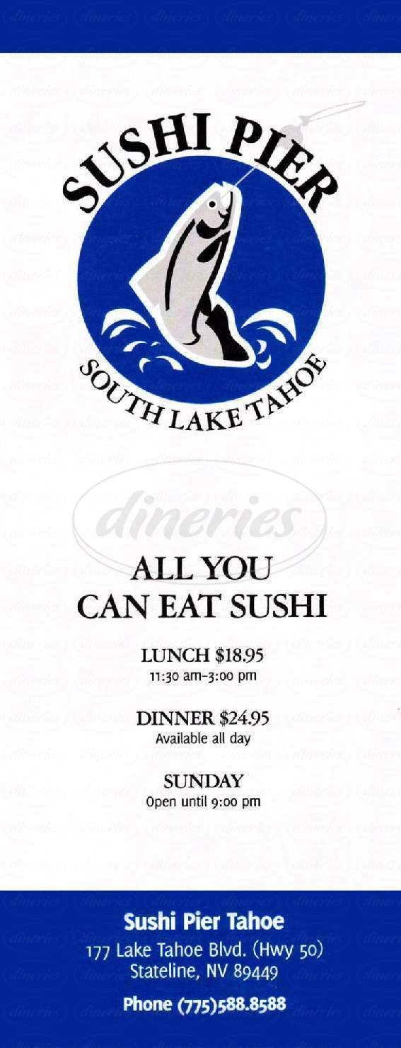 menu for Sushi Pier Tahoe