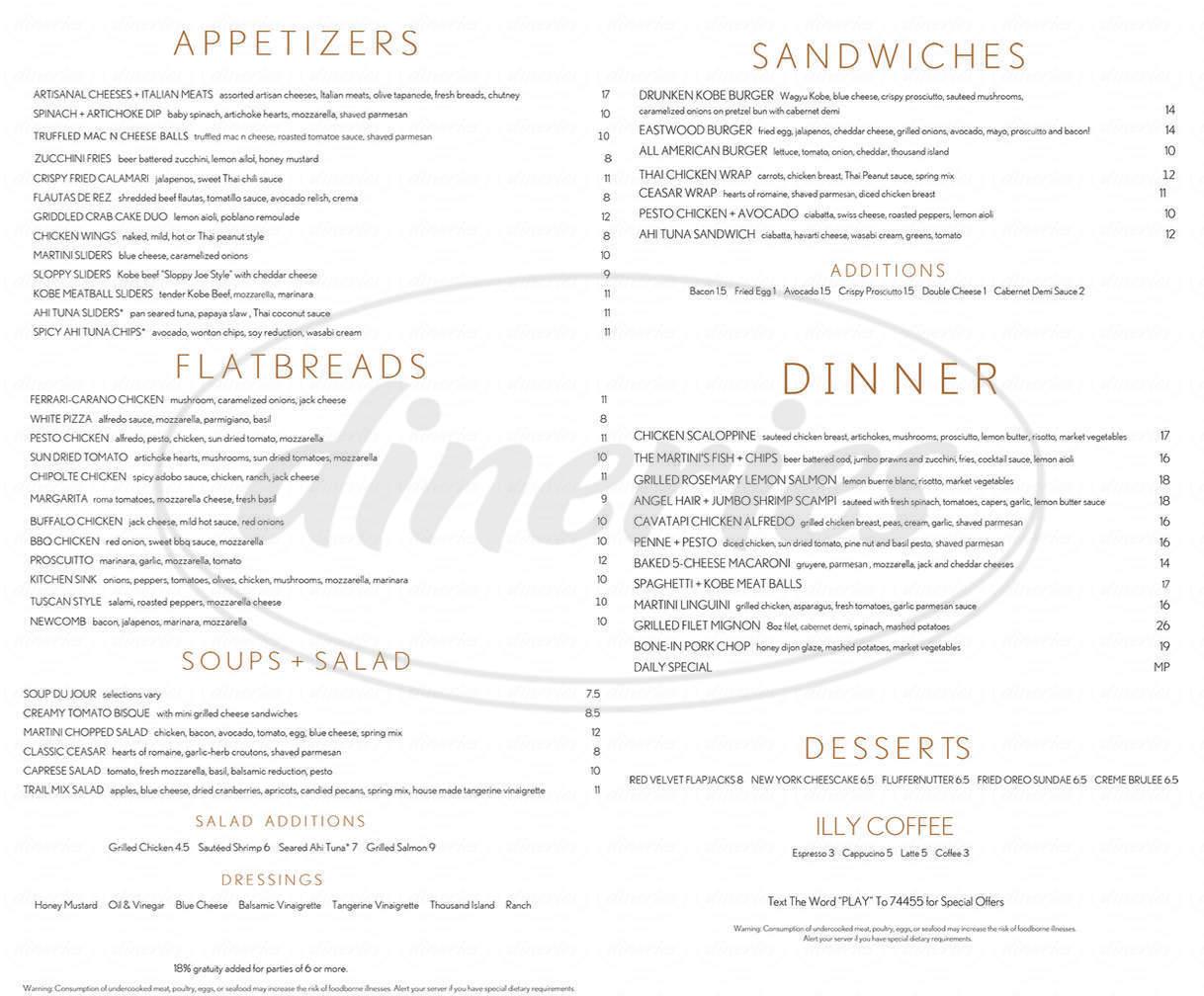 menu for The Martini