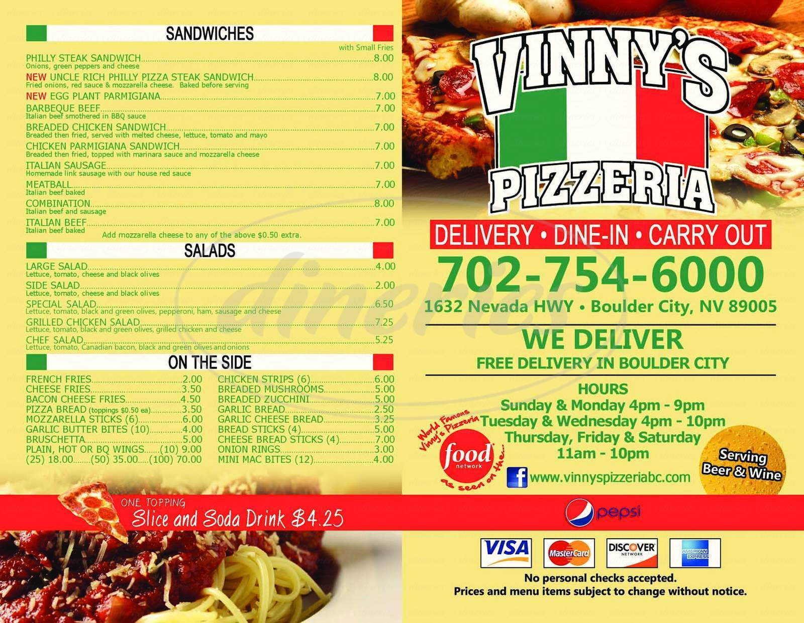 menu for Vinny's Pizzeria