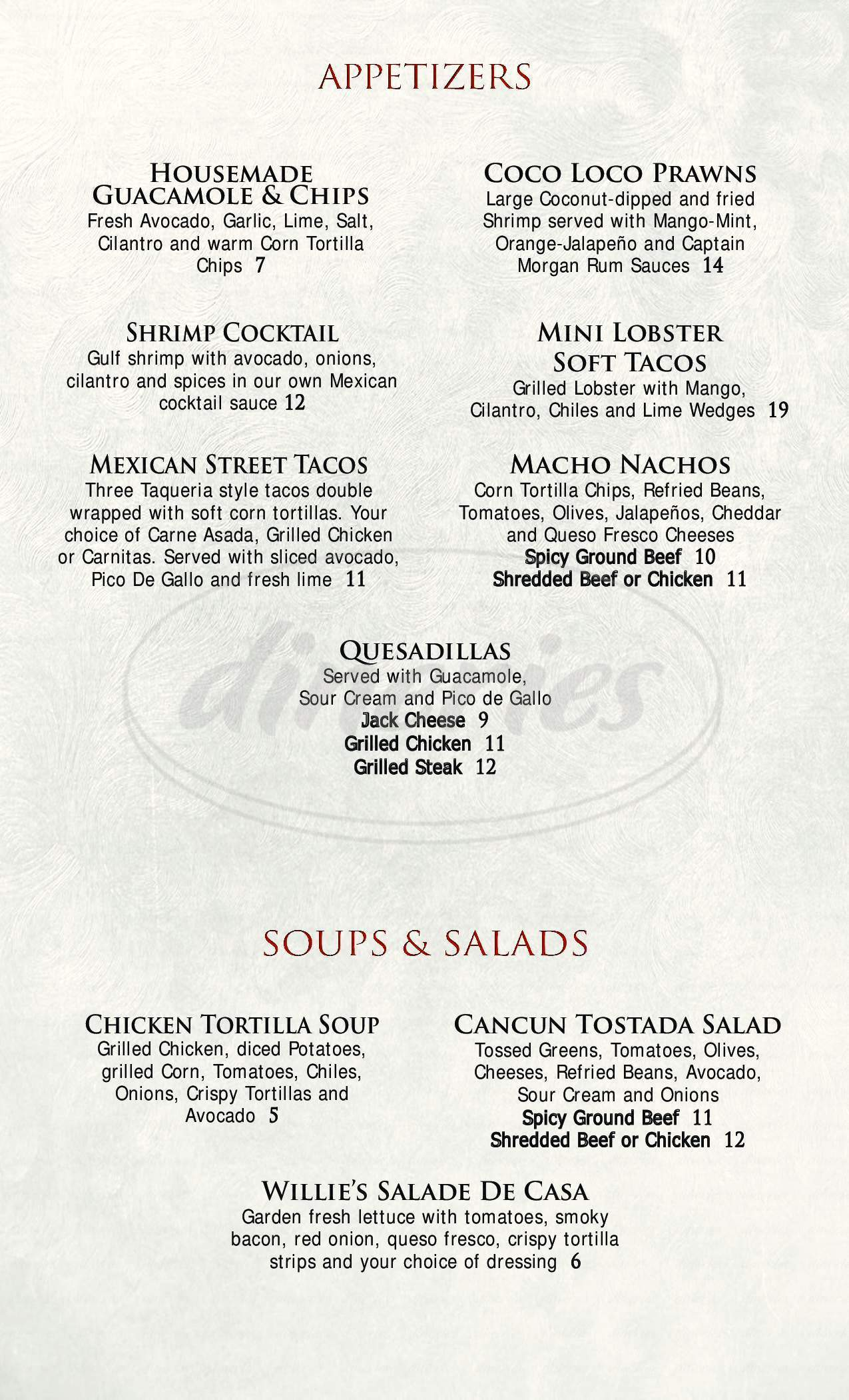 menu for Pancho & Willie's Cantina