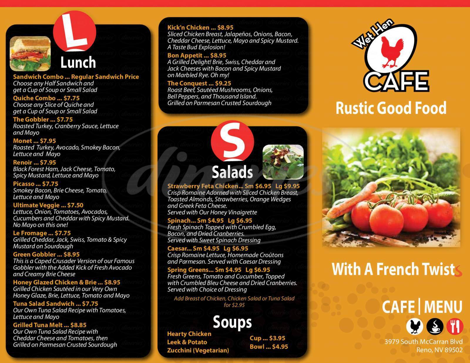menu for Wet Hen Cafe