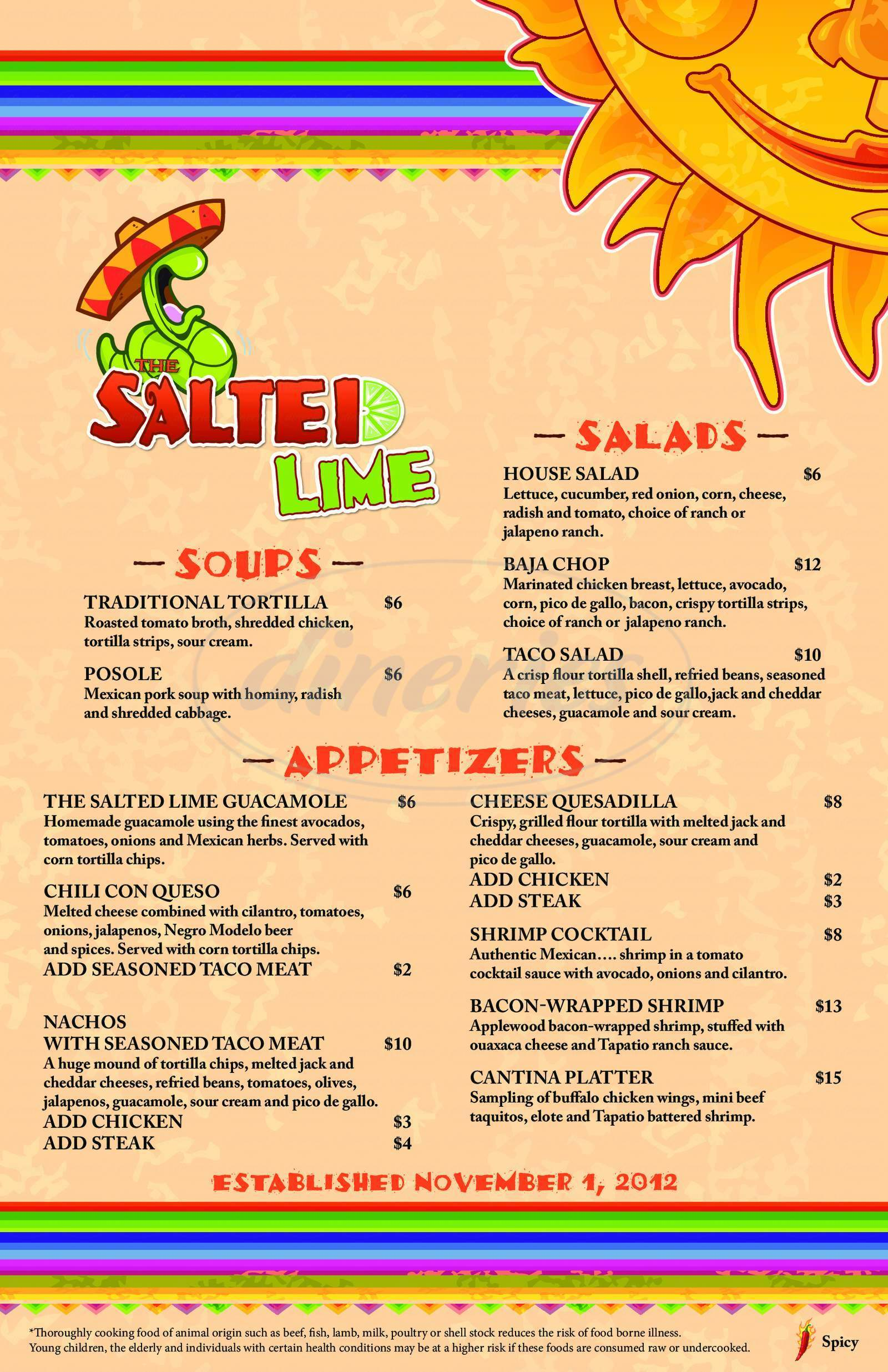 menu for The Salted Lime