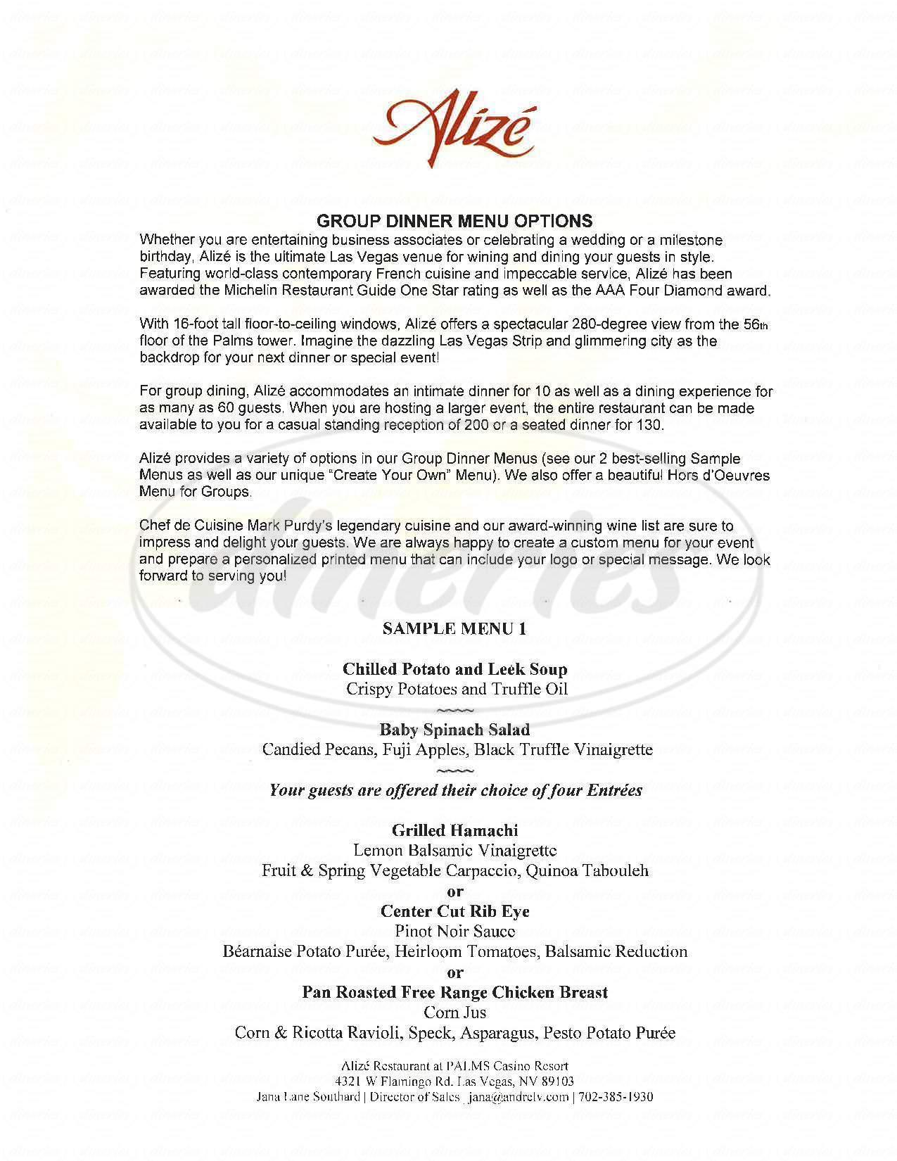 menu for Alizé