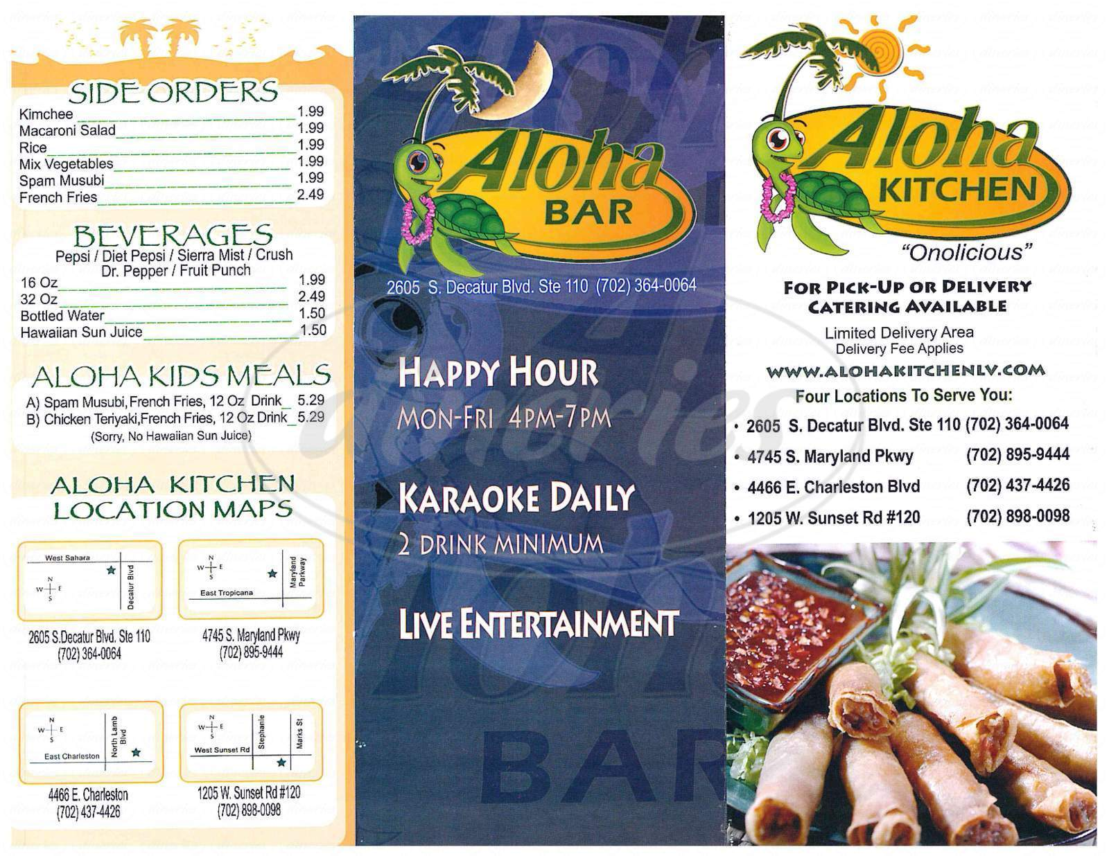menu for Aloha Kitchen & Bar