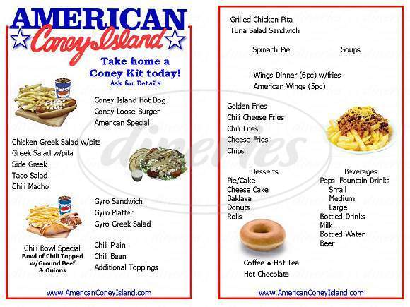 menu for American Coney Island