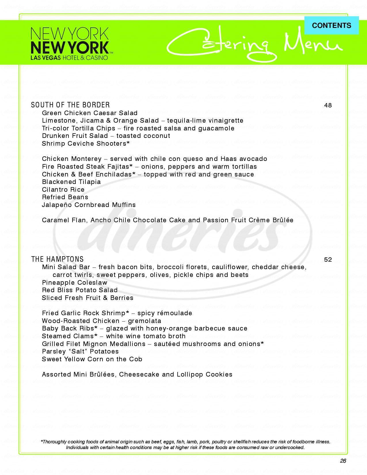 menu for Gallagher's Steakhouse