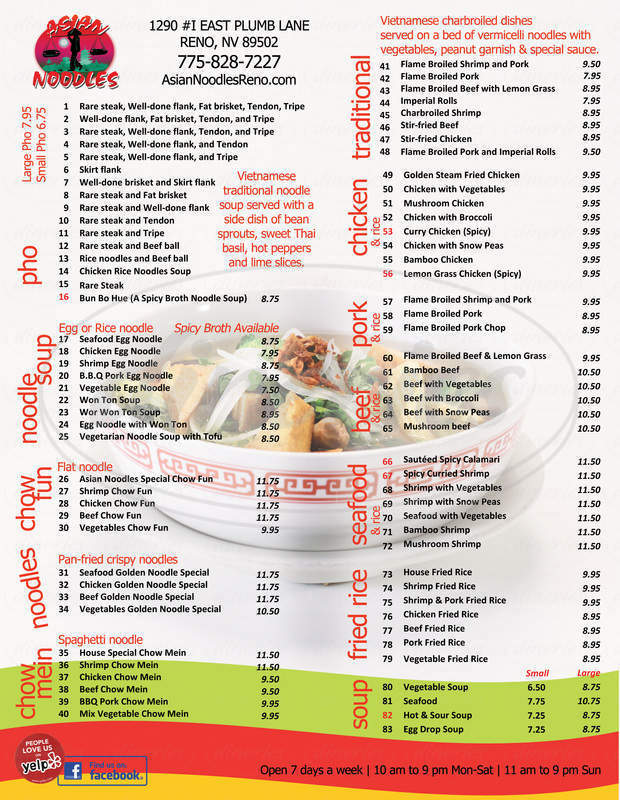 menu for Asian Noodles