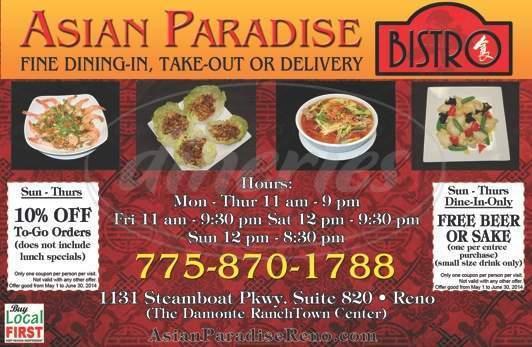 menu for Asian Paradise Restaurant