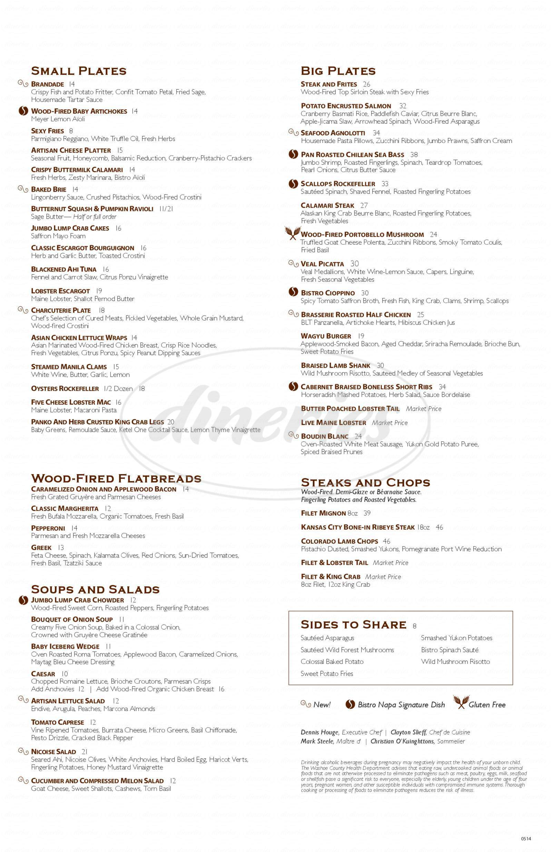 menu for Bistro Napa