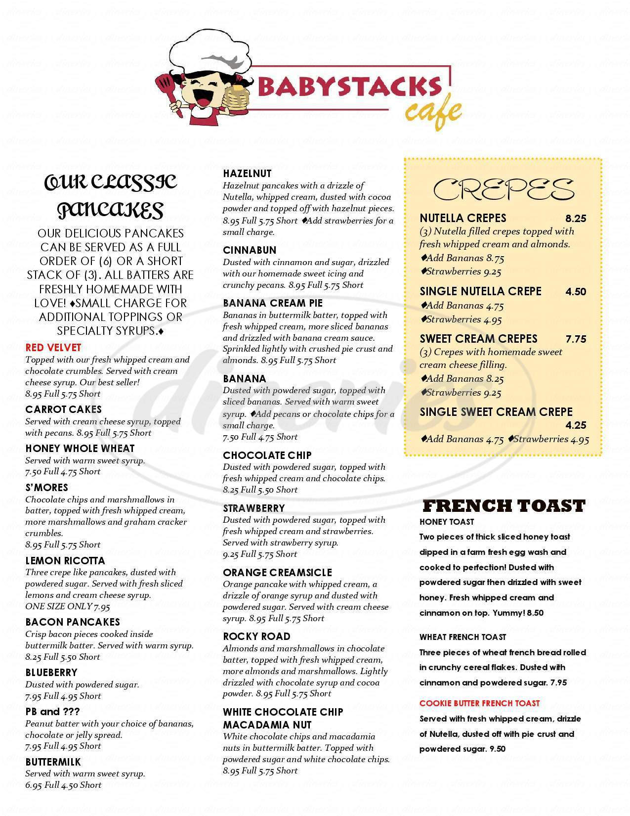 menu for BabyStacks Cafe
