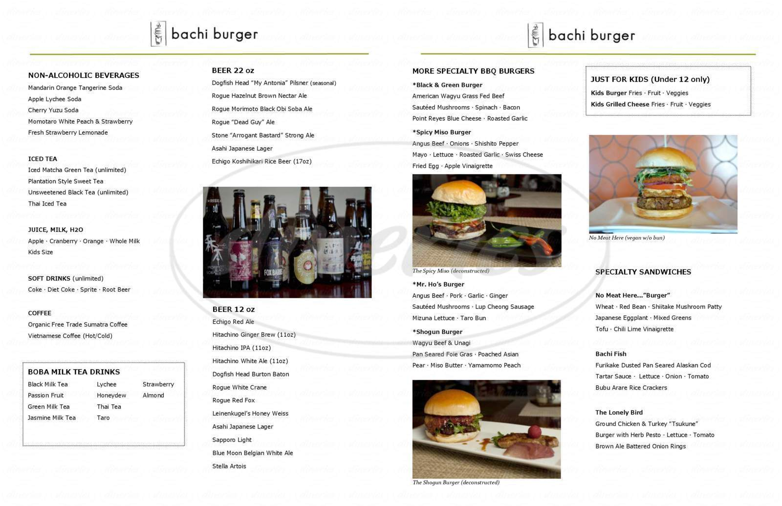 menu for Bachi Burger