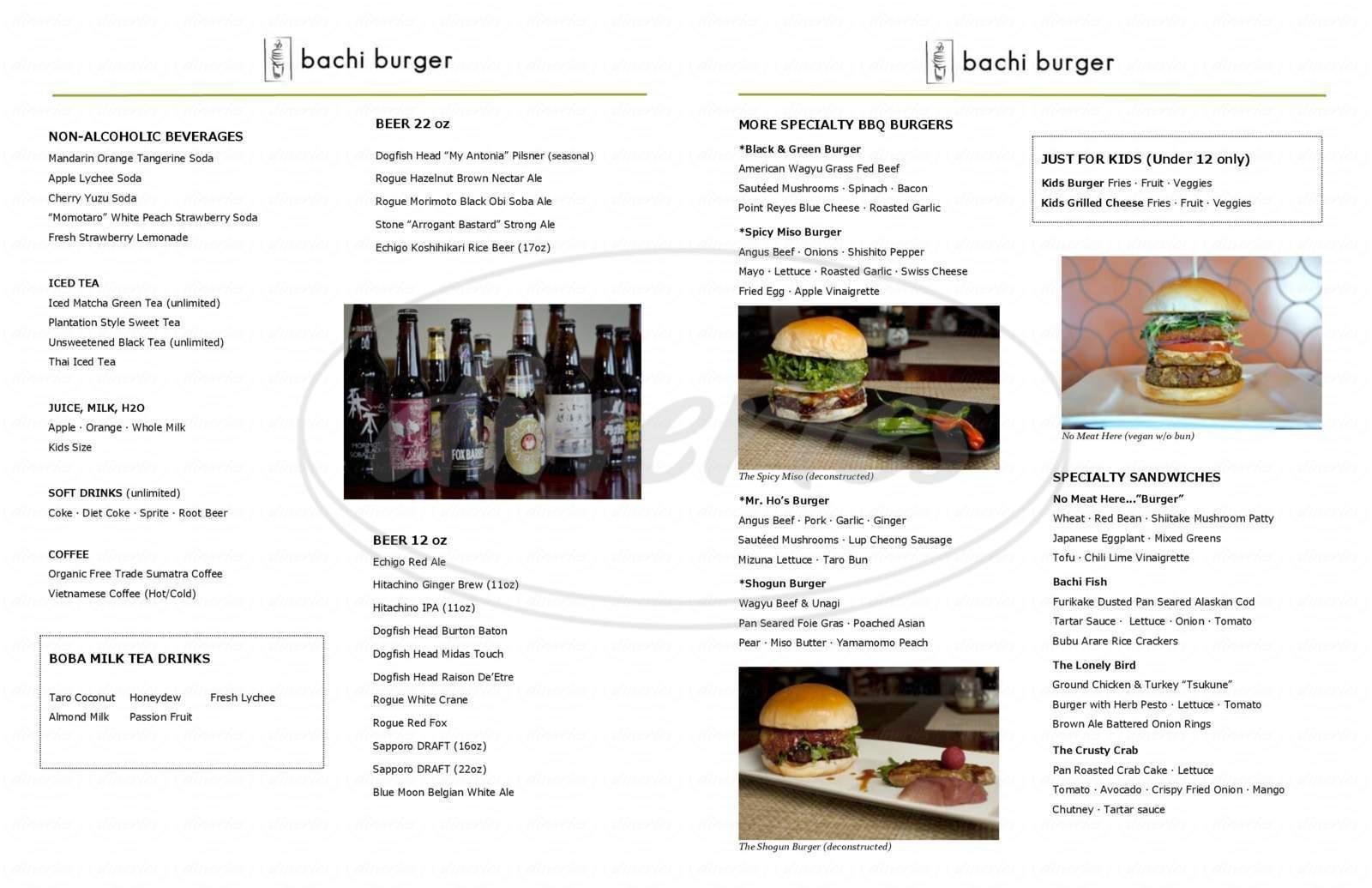 menu for Bachi Burger
