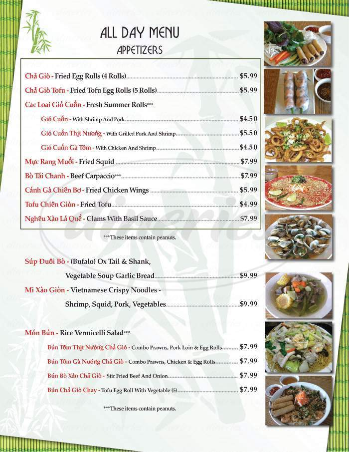 Big menu for Bamboo Bistro, Las Vegas