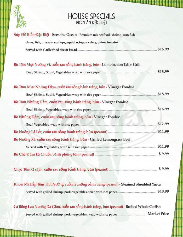 menu for Bamboo Bistro