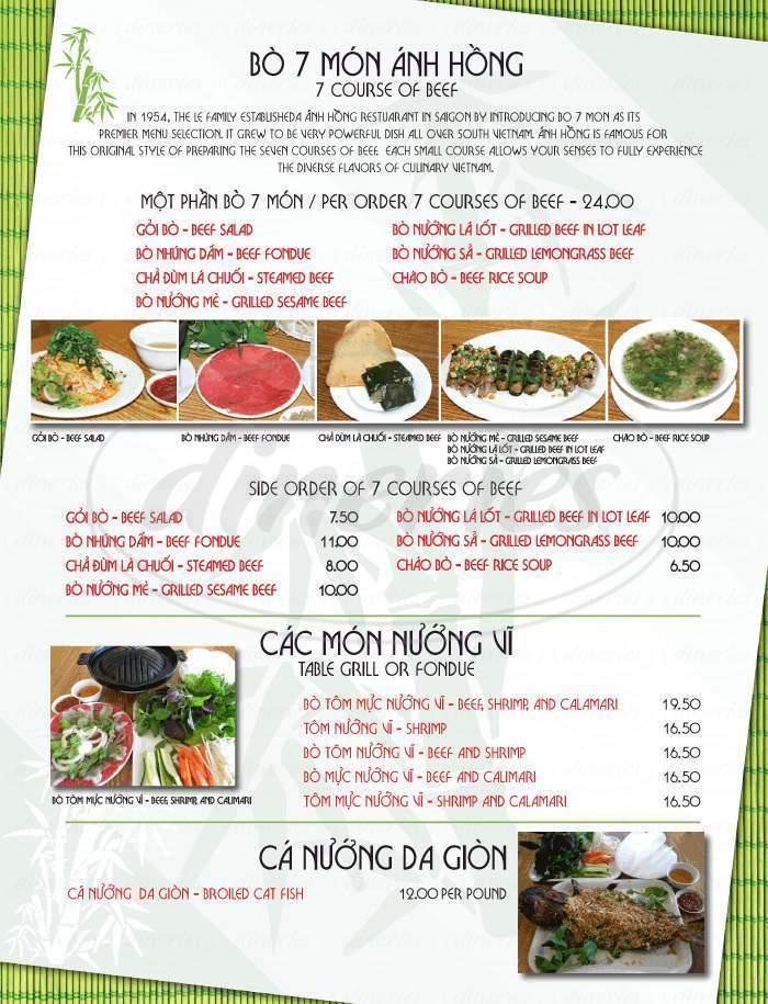 menu for Bamboo Bistro