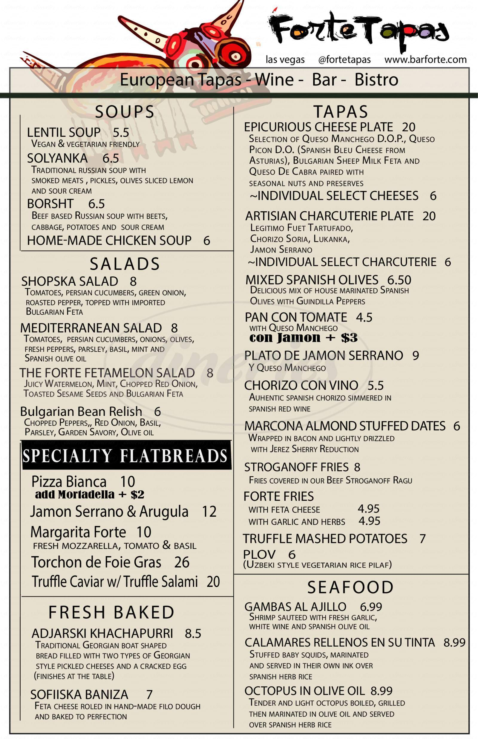 menu for Forte European Tapas Bar and Bistro