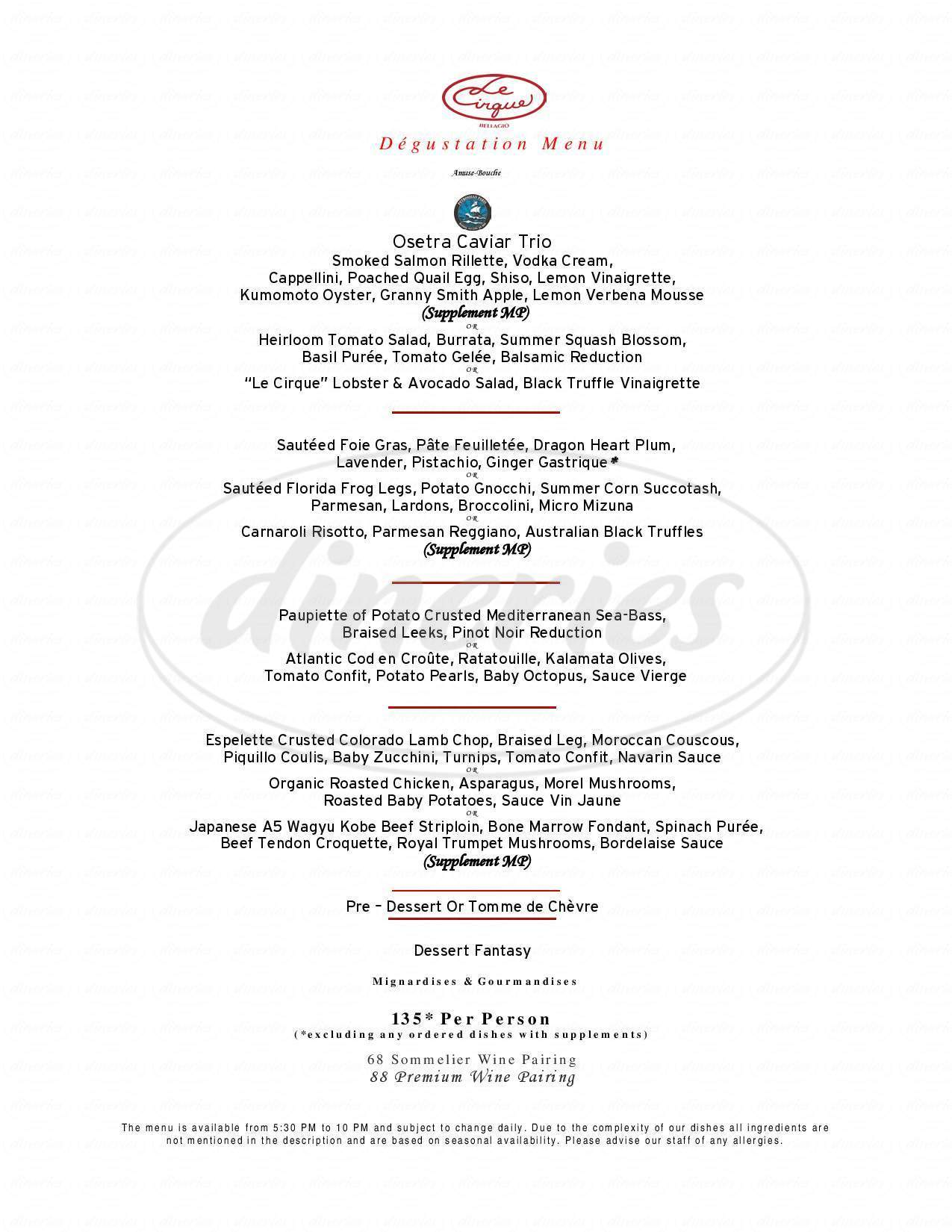 menu for Le Cirque