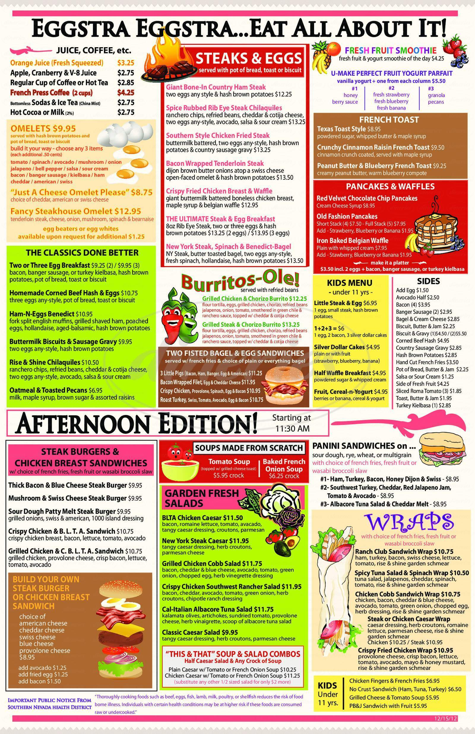 menu for Rise & Shine, a Steak & Egg Place