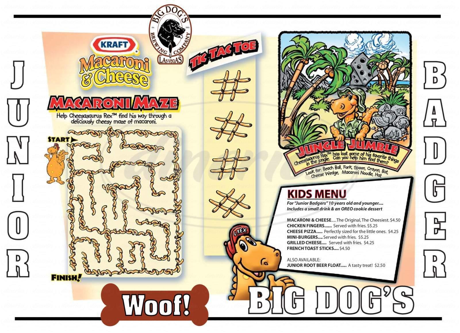 menu for Big Dog's Draft House