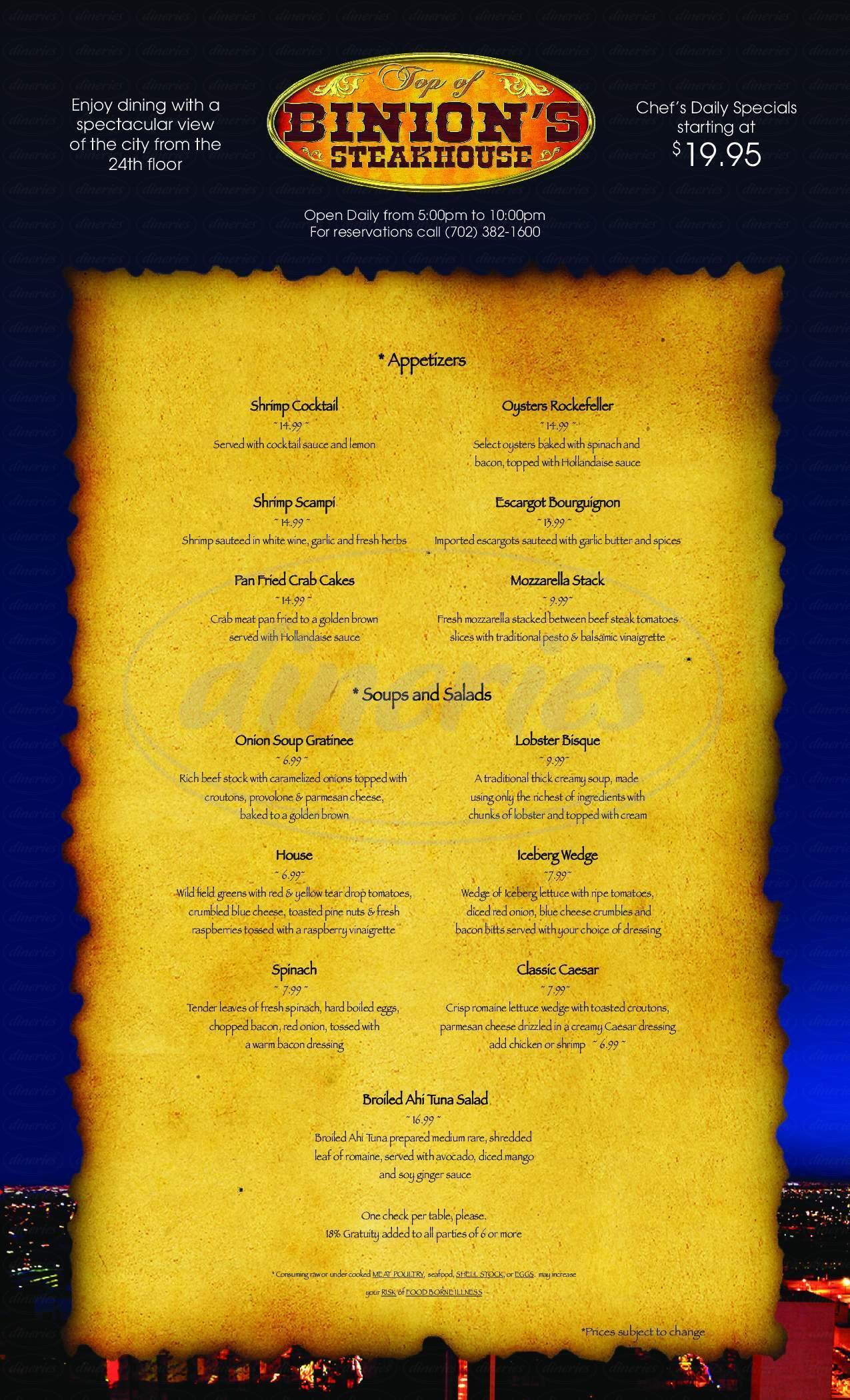 menu for Binion's Ranch Steak House