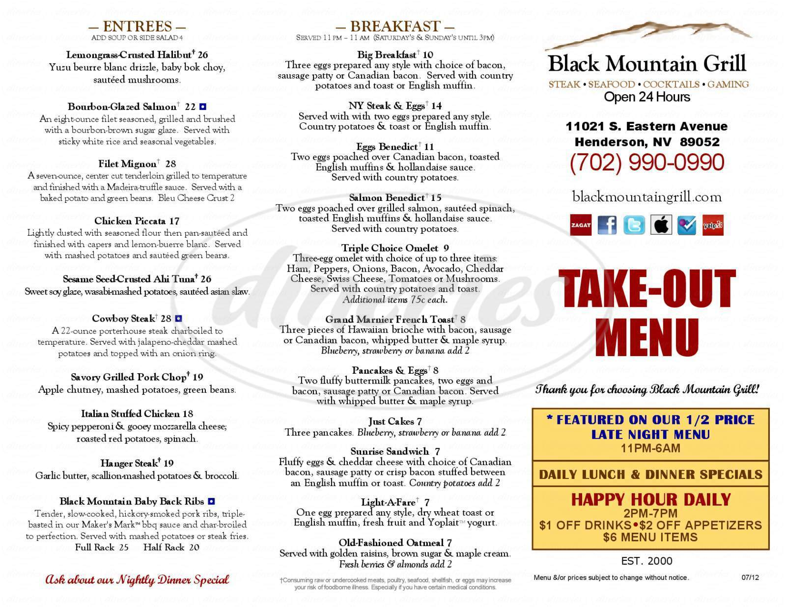 menu for Black Mountain Grill