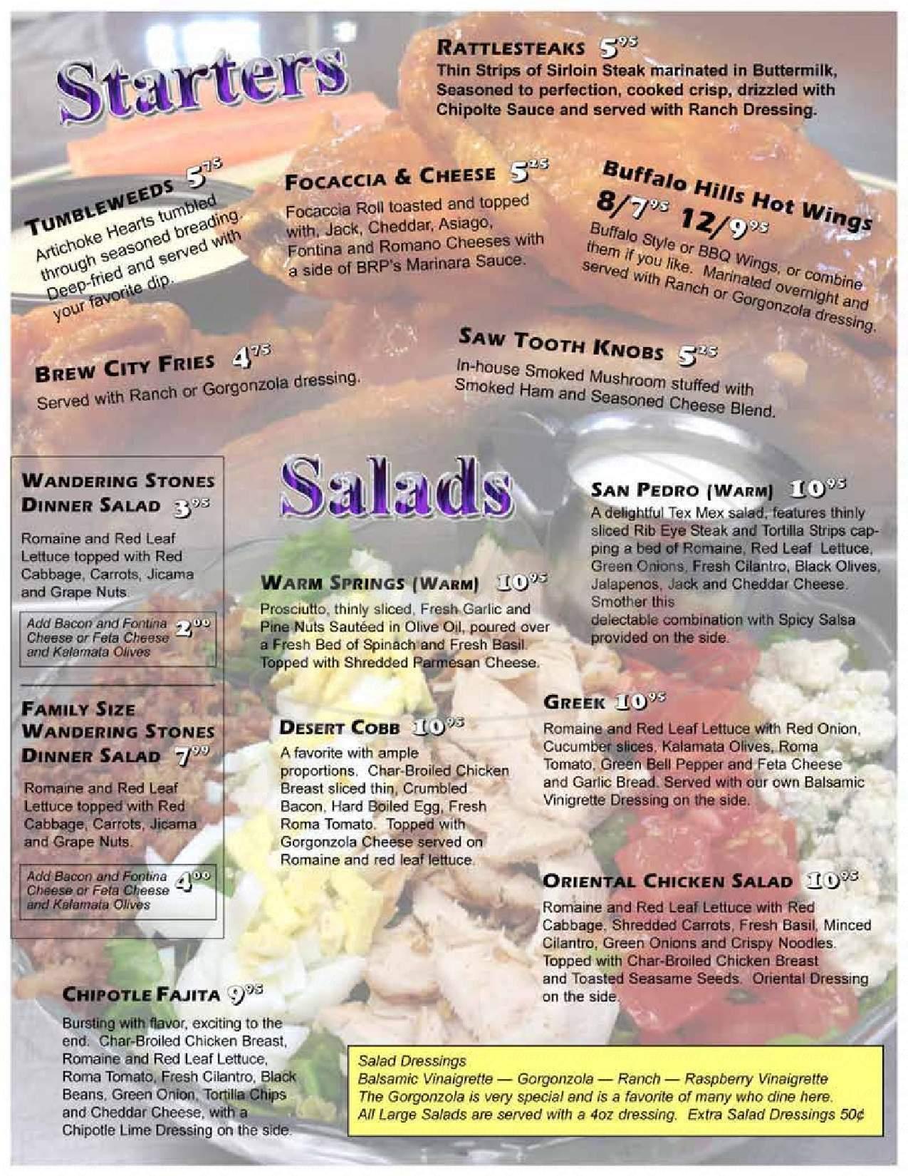 menu for Black Rock Pizza
