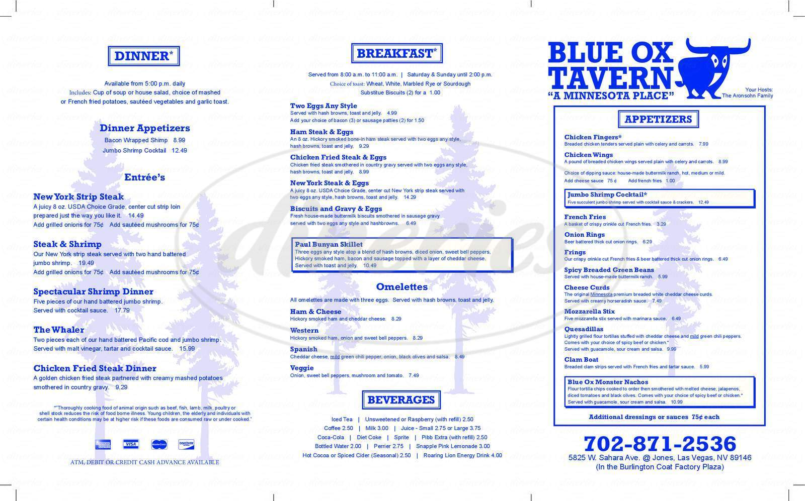 menu for Blue Ox Tavern