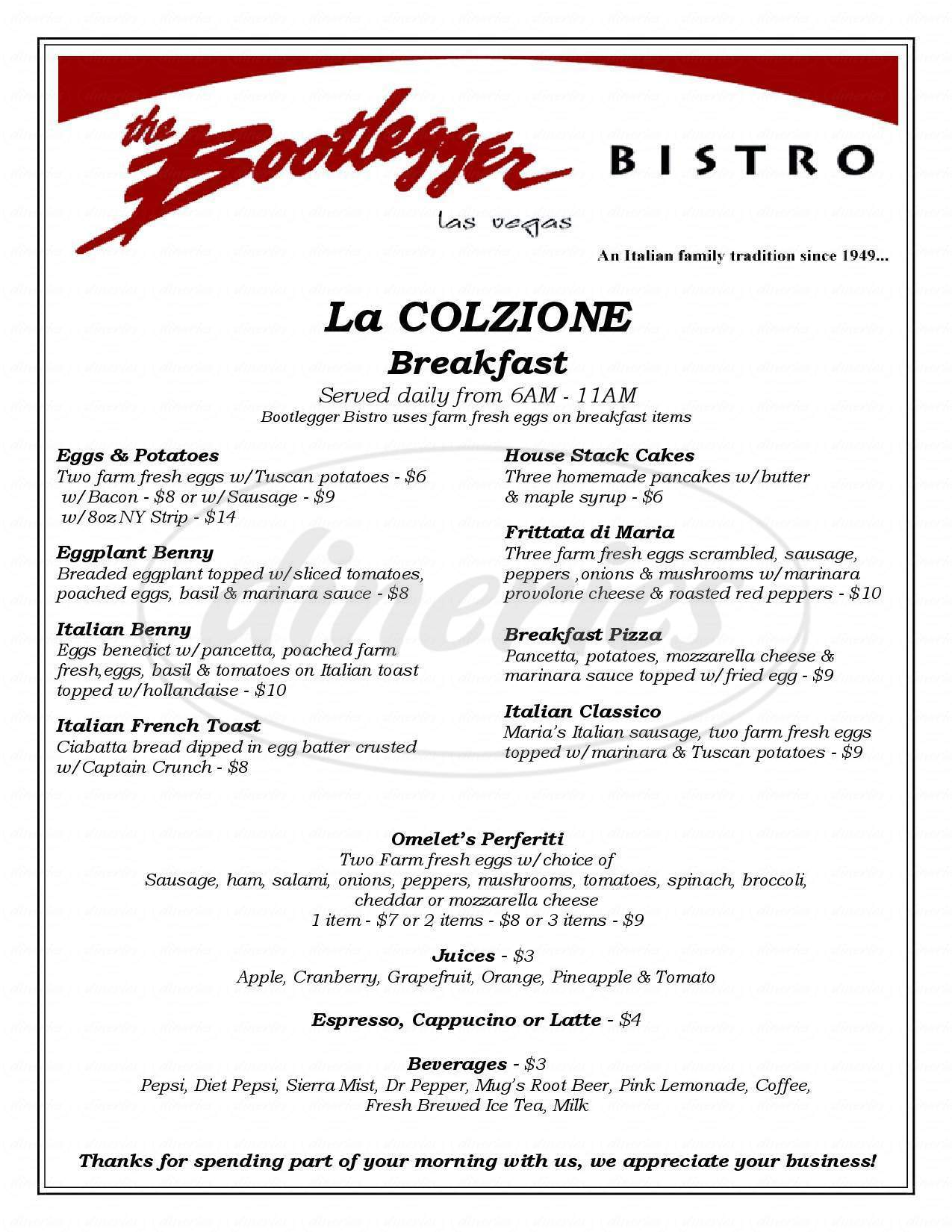 menu for The Bootlegger Bistro