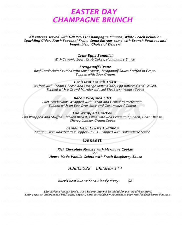 menu for Buona Sera Ristorante & Bar