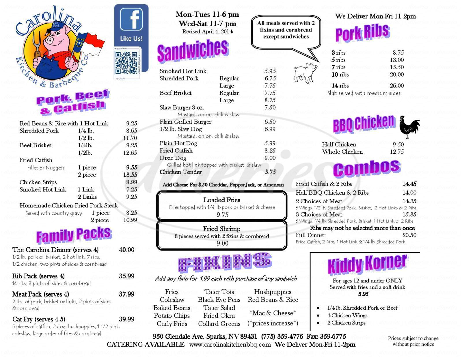 menu for Carolina Kitchen & Barbeque