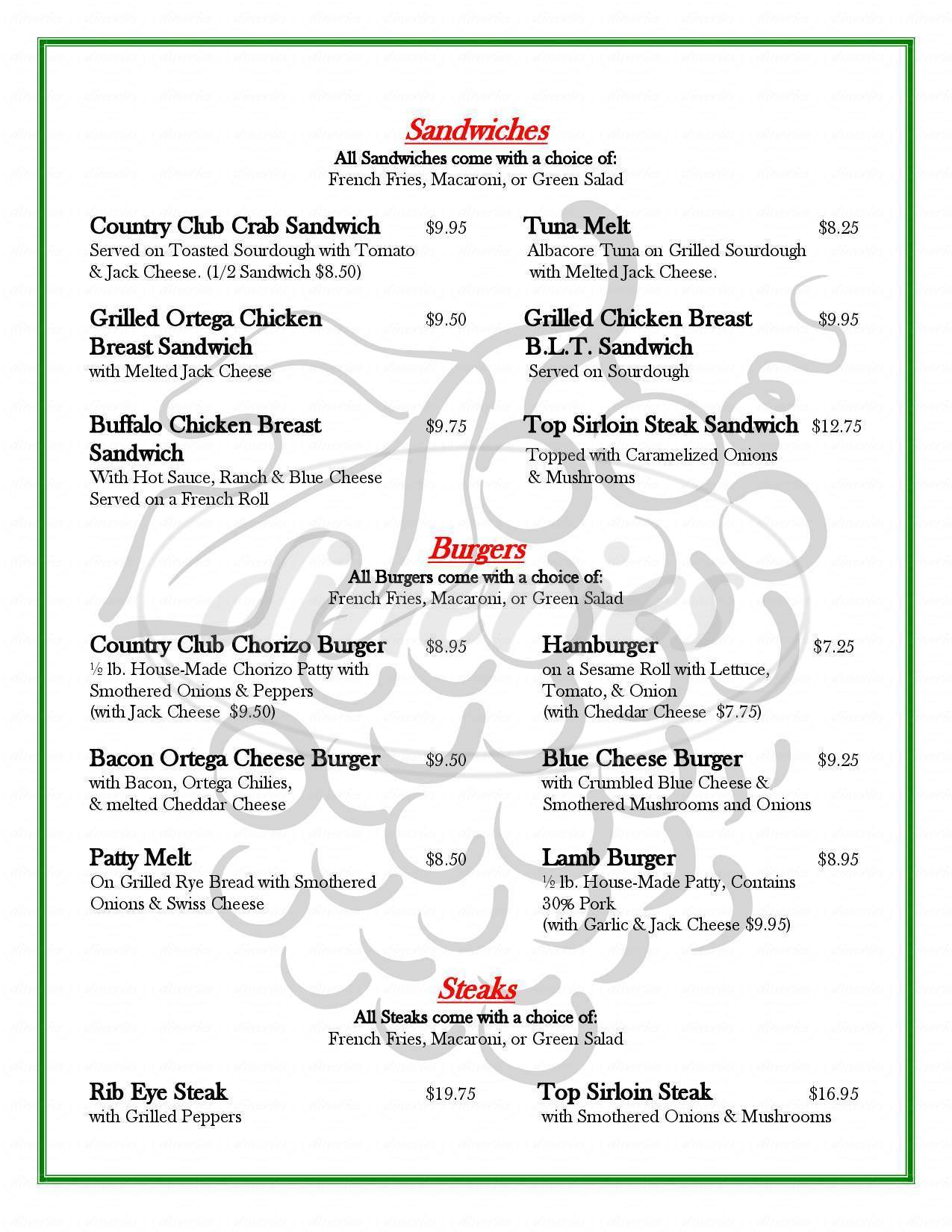 menu for Carson Valley Country Club Restaurant
