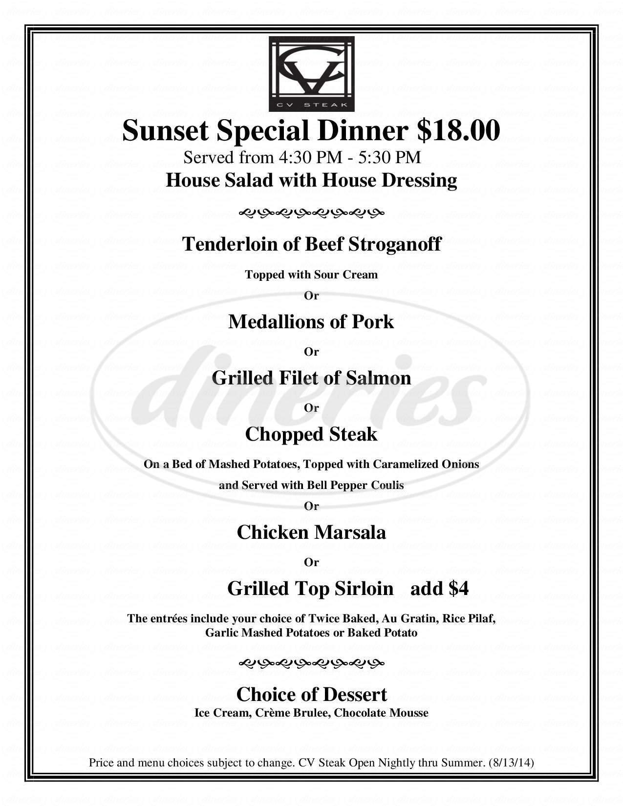 menu for C V Steak
