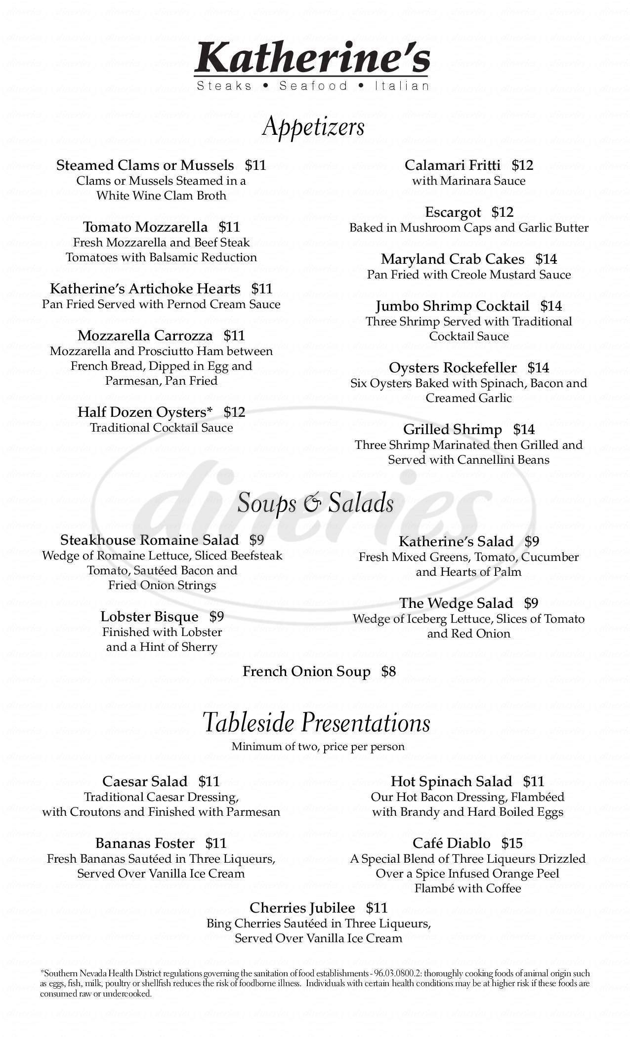 menu for Katherine's Steakhouse