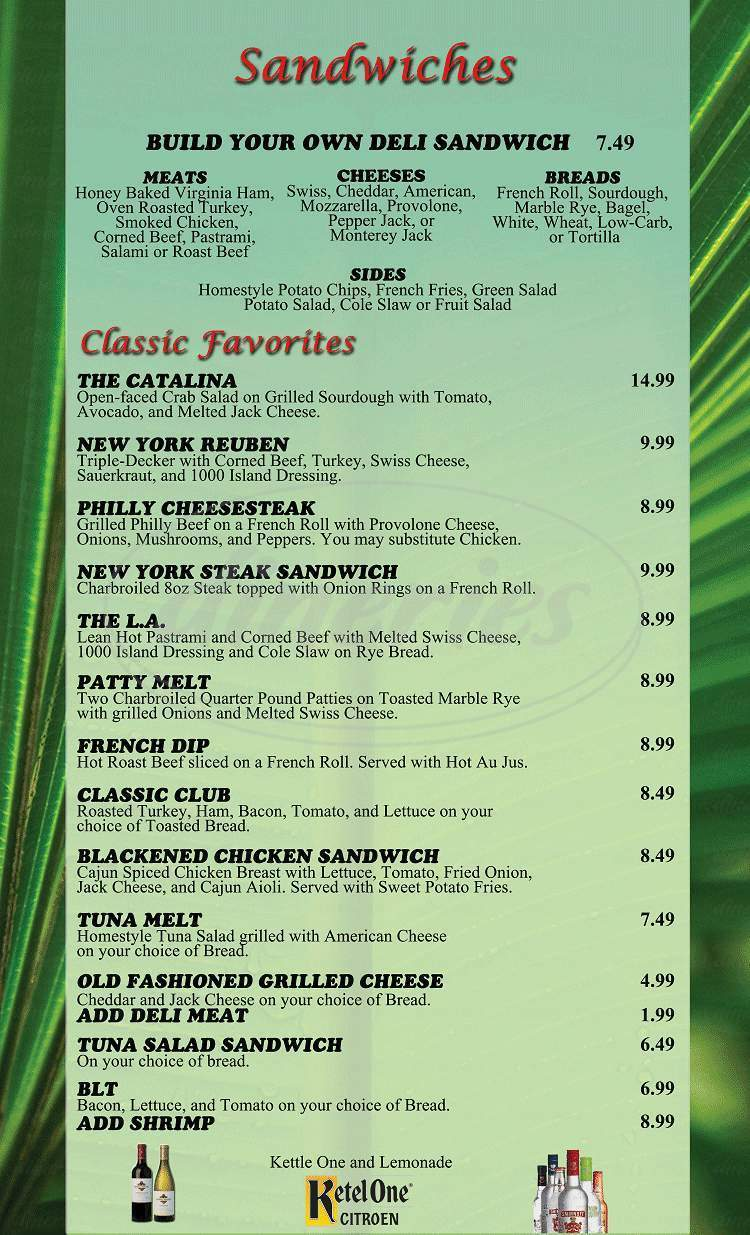 menu for Palm Court Grill