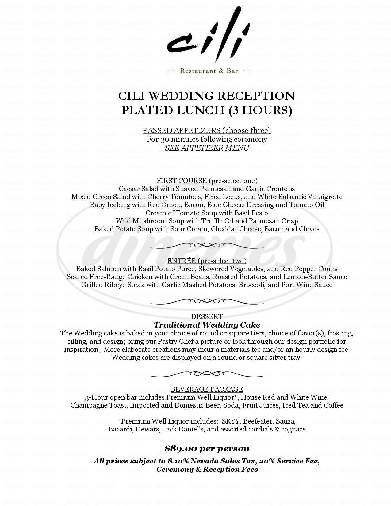 menu for Cili Fine Dining