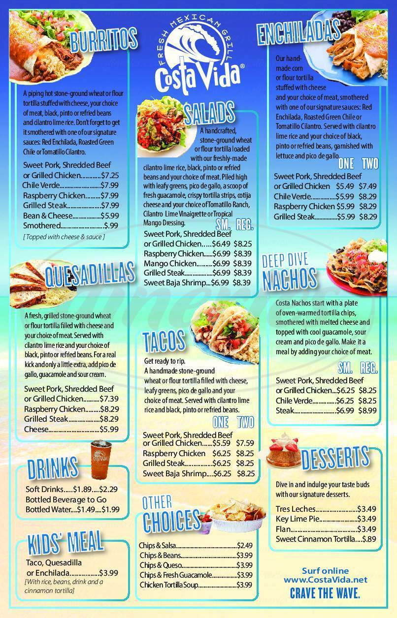 menu for Costa Vida Fresh Mexican Grill