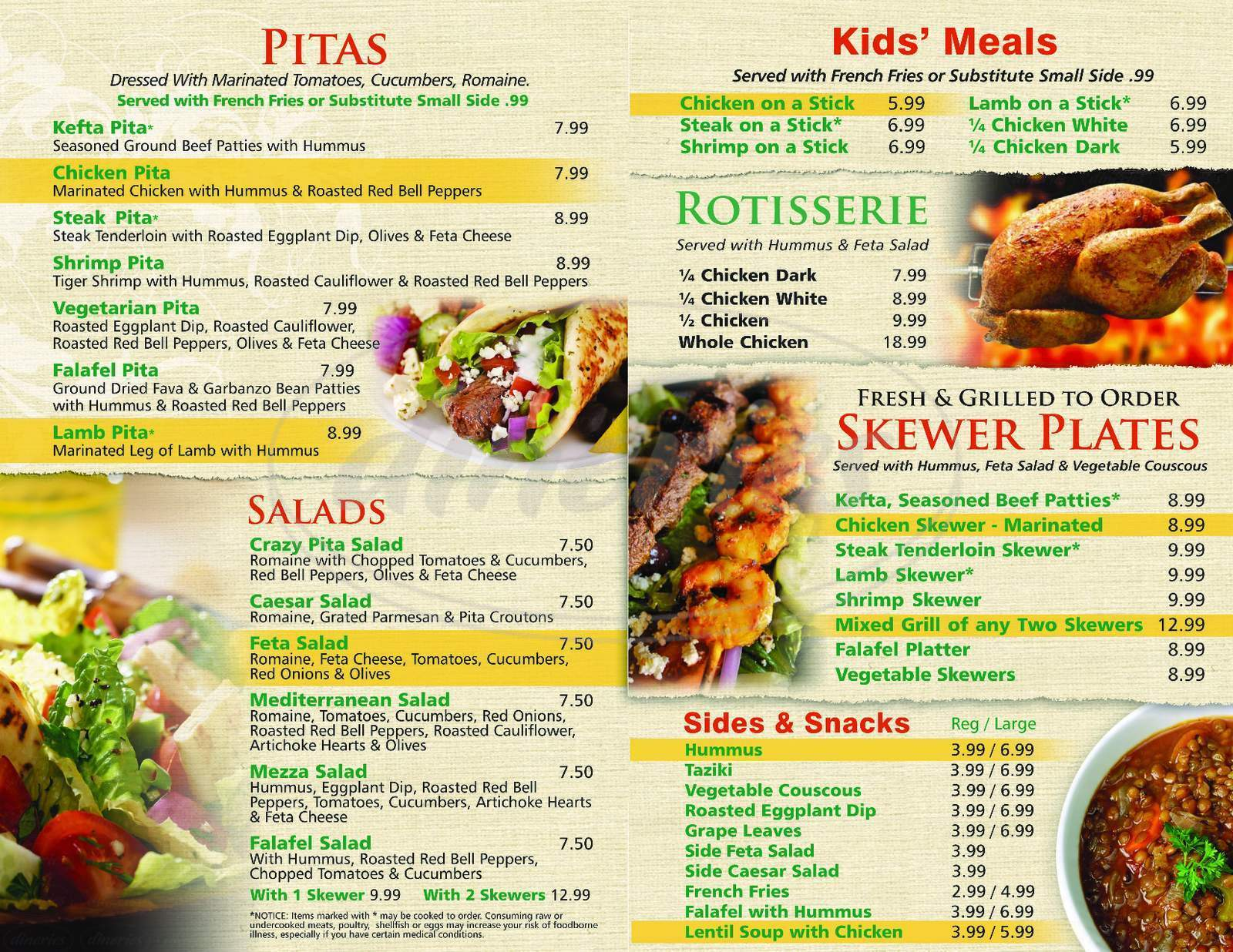 menu for Crazy Pita Rotisserie & Grill