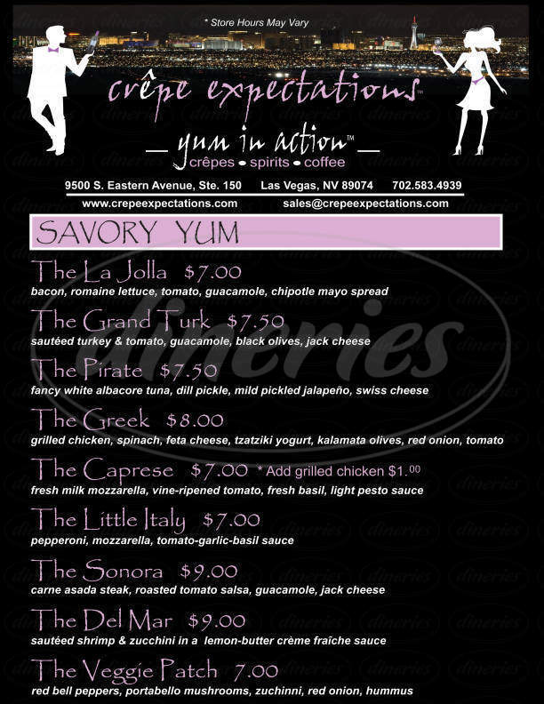 Big menu for Crêpe Expectations, Las Vegas
