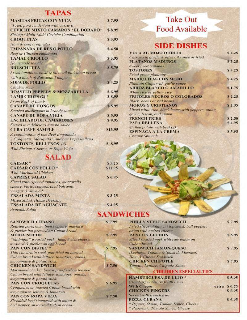 menu for Cuba Cafe Restaurant