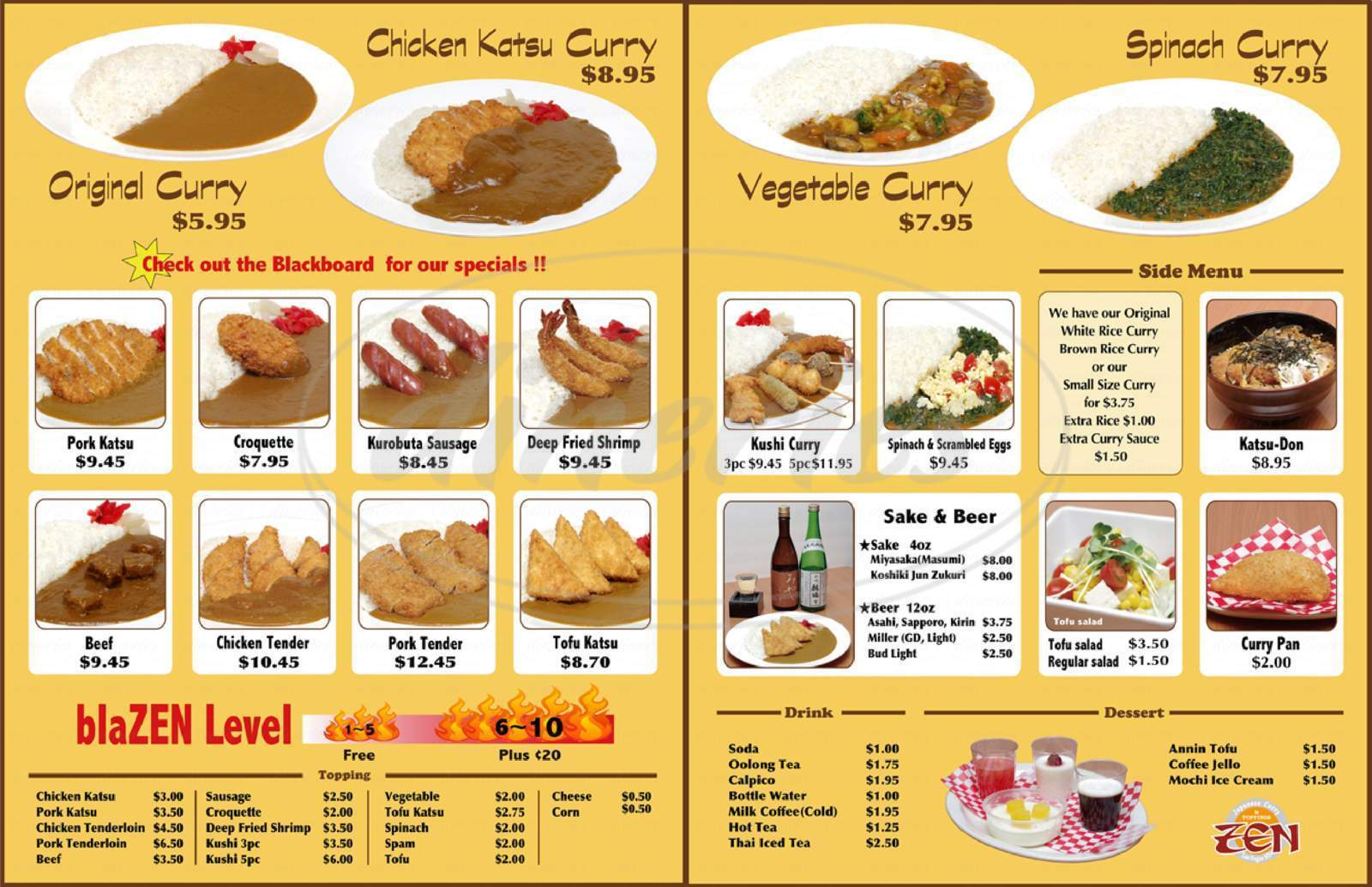 menu for Japanese Curry Zen