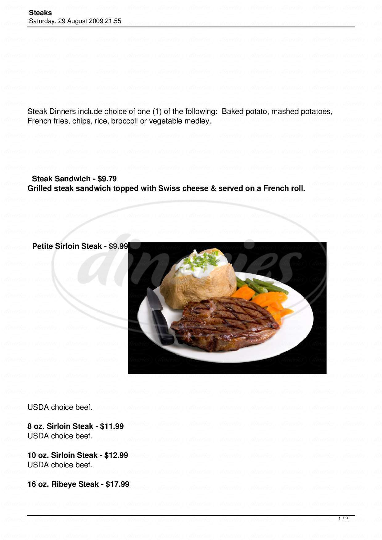 menu for Dessy B's Steak House