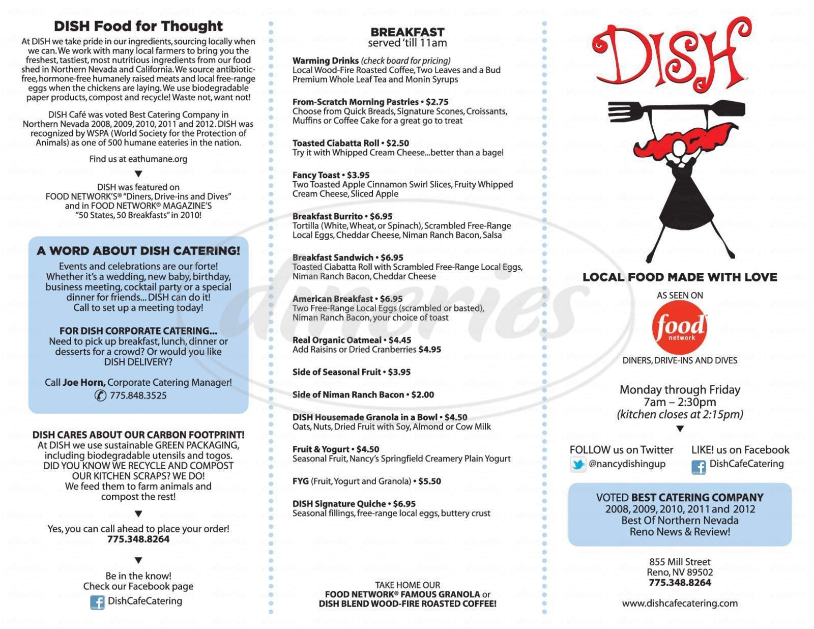 menu for Dish Cafe & Catering