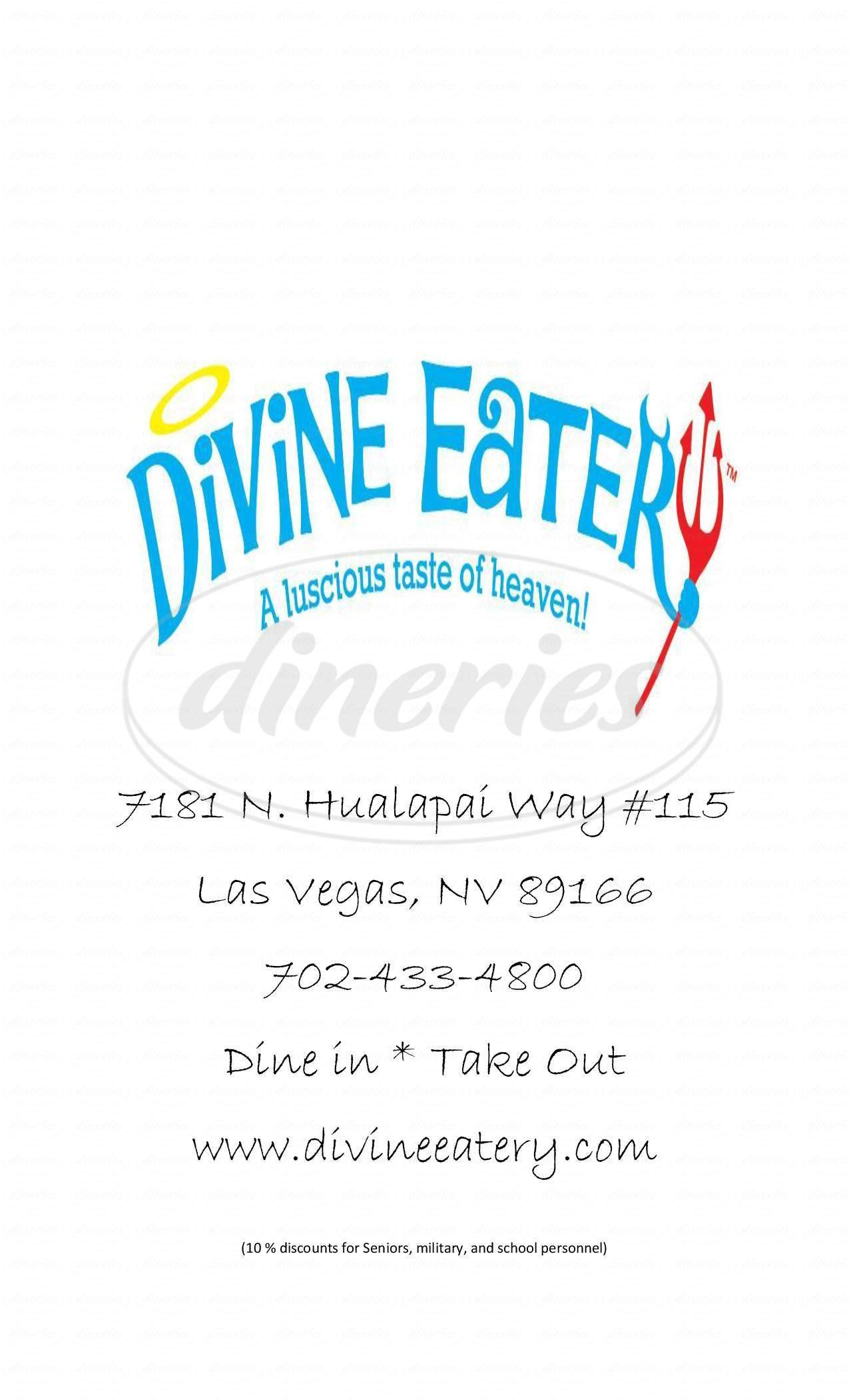 menu for Divine Eatery