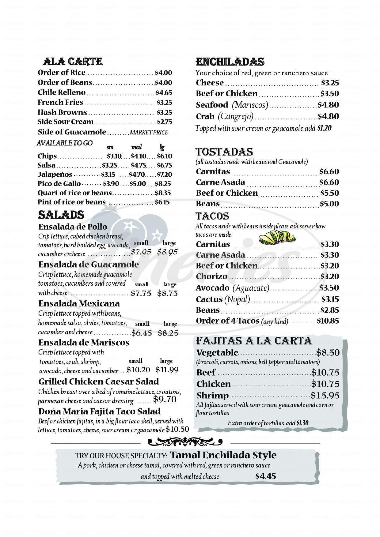 menu for Dona Maria Tamales Restaurant
