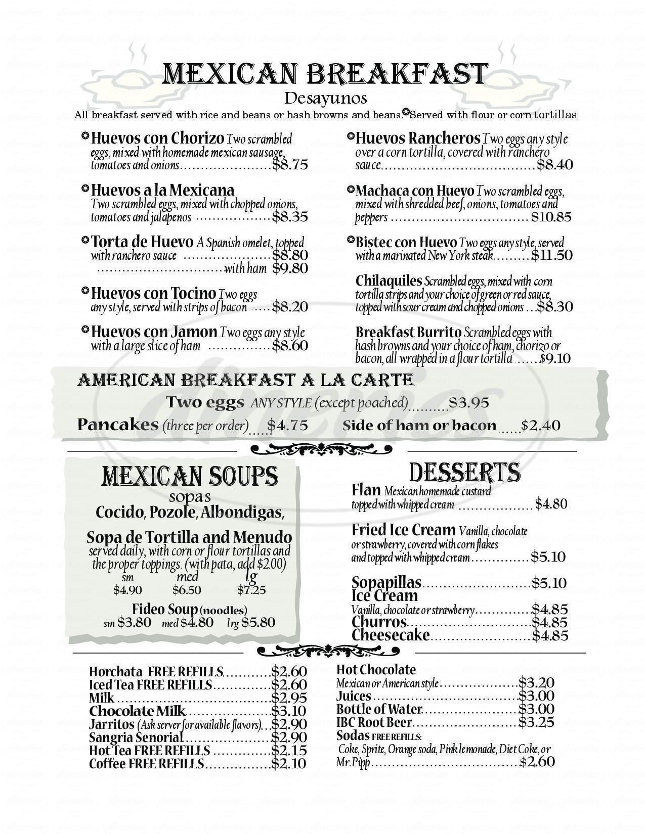 menu for Dona Maria Tamales Restaurant