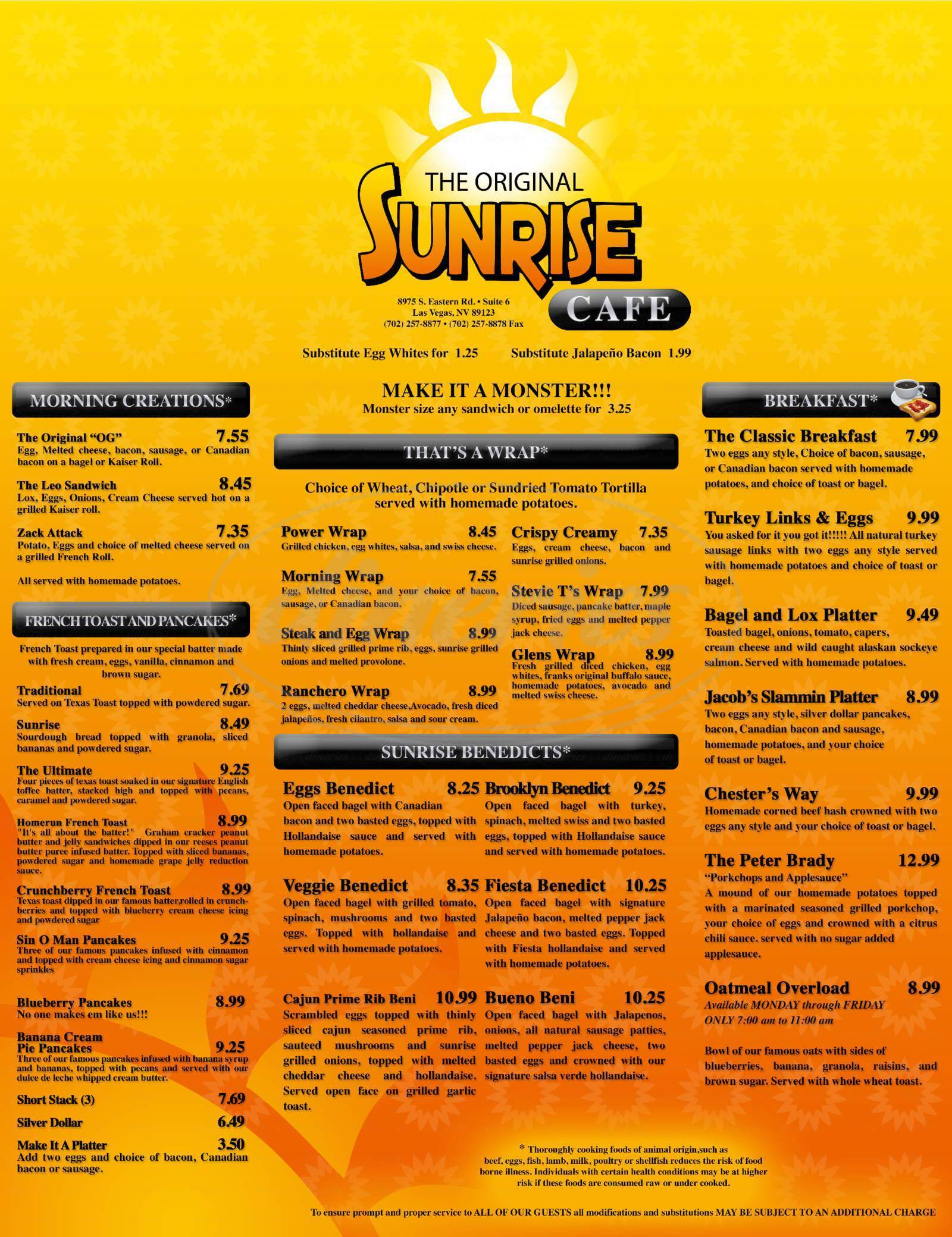 menu for The Original Sunrise Cafe