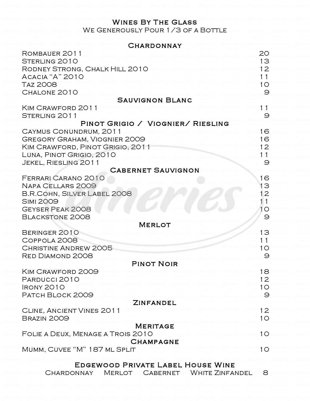 menu for Edgewood Restaurant