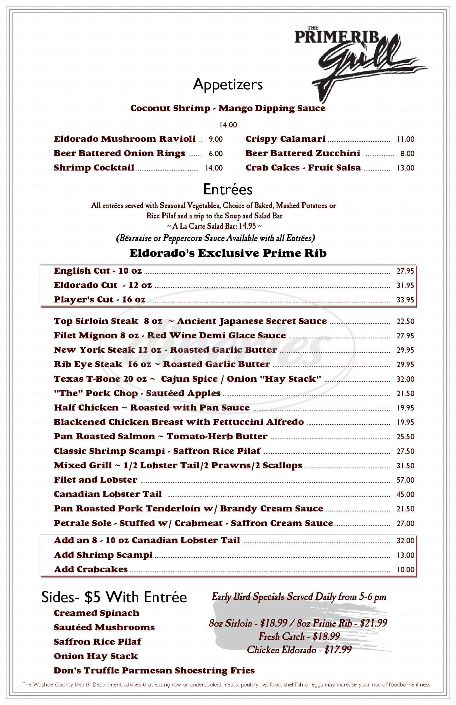 menu for The Prime Rib Grill