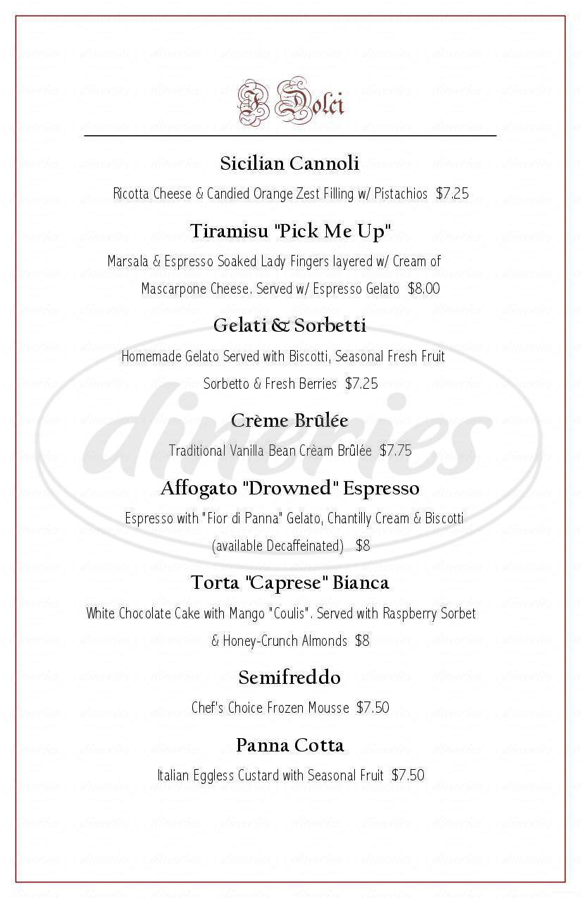 menu for La Strada