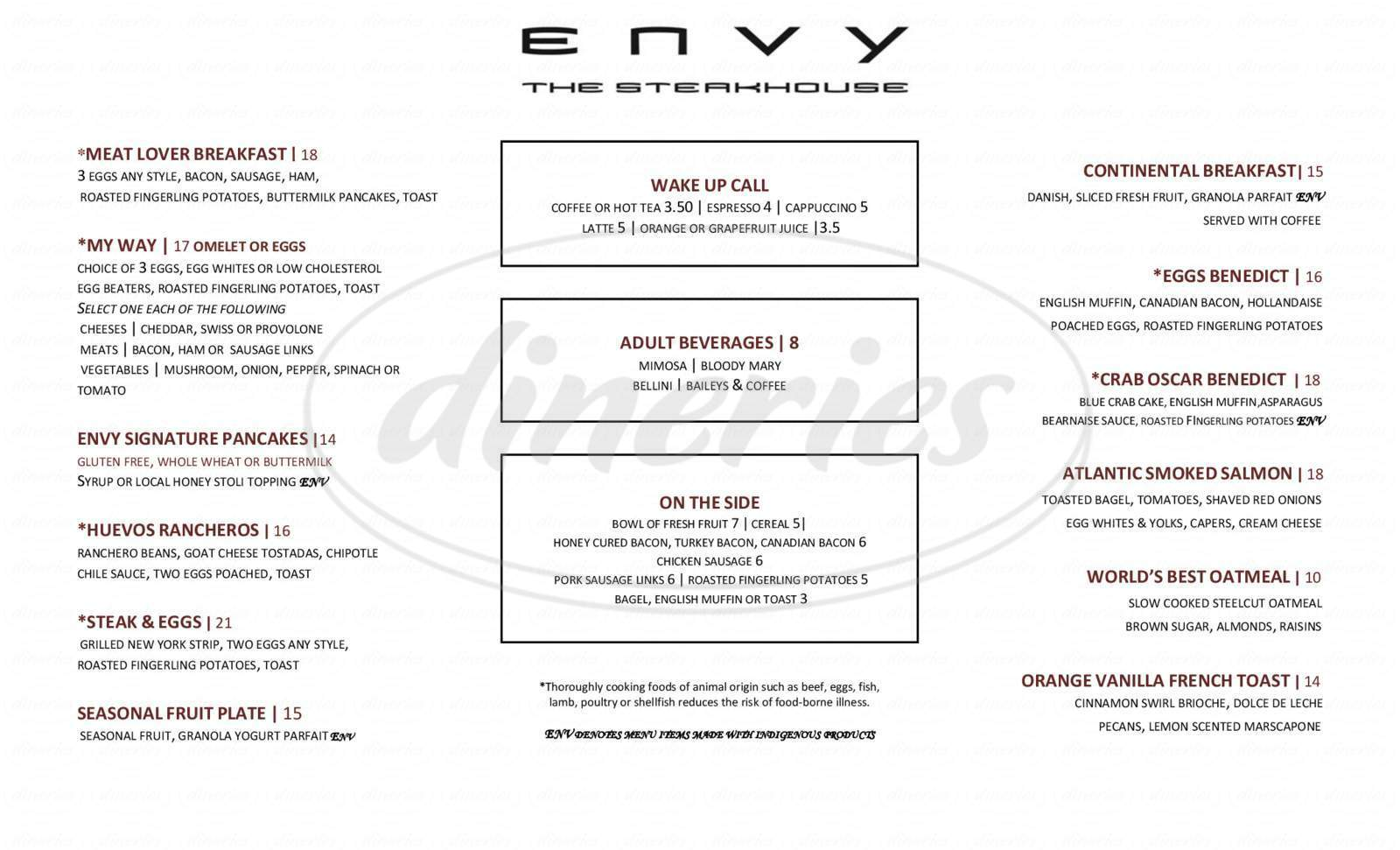 menu for ENVY The Steakhouse